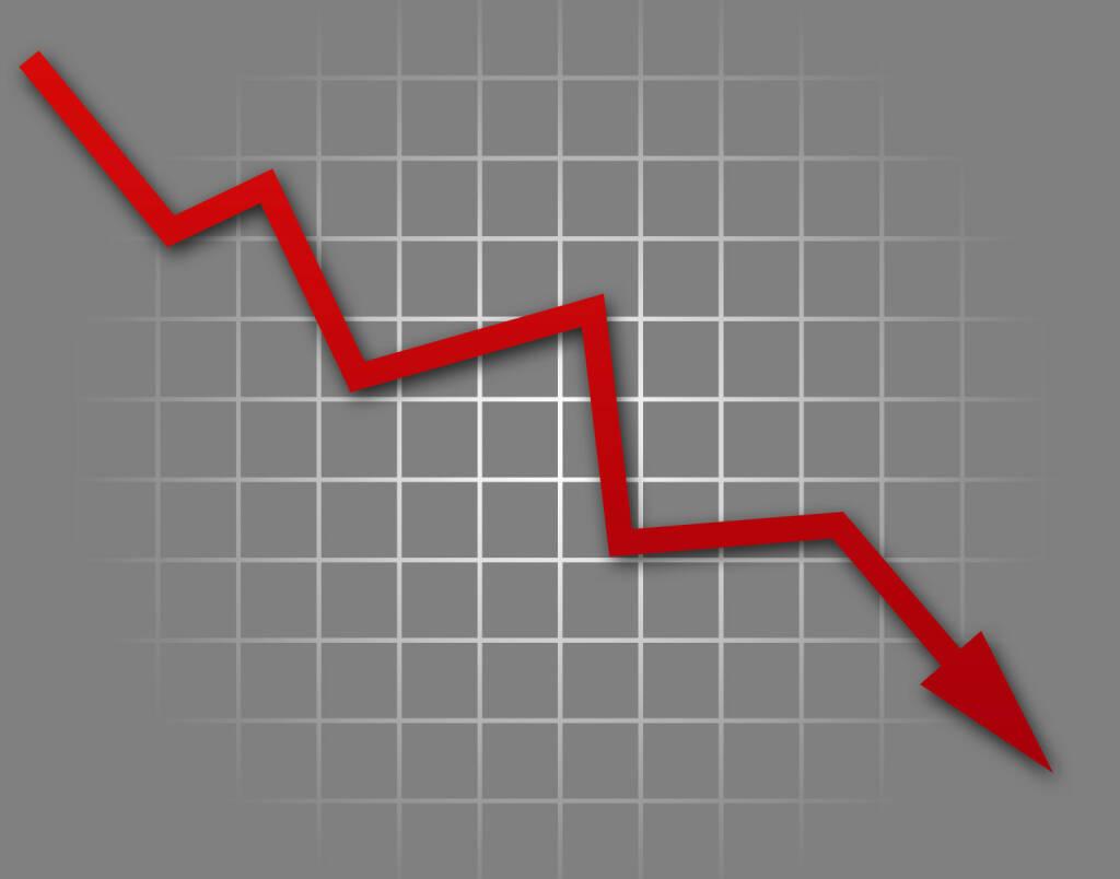 Fallende Kurse, Absturz, rot http://www.shutterstock.com/de/pic-132609212/stock-photo-arrow-graph-going-down-on-gray-background.html, © www.shutterstock.com (20.01.2016)