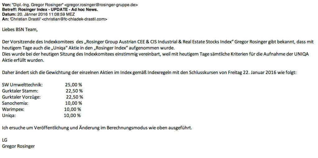 Indexevent Rosinger-Index 4: Aufnahme Uniqa per Schlusskurs 22.1. 2016, effektiv per Marktstart 25.1. 2016 (23.01.2016)