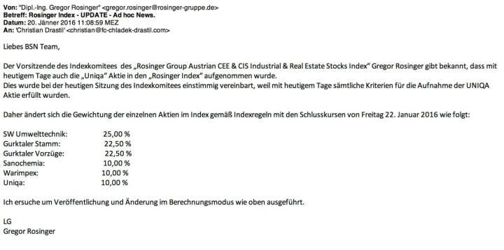 Indexevent Rosinger-Index 4: Aufnahme Uniqa per Schlusskurs 22.1. 2016, effektiv per Marktstart 25.1. 2016