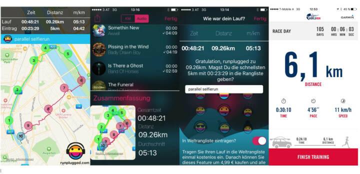 3x http://www.runplugged.com/app und 1x Selfie Run App des Wings For Life World Run