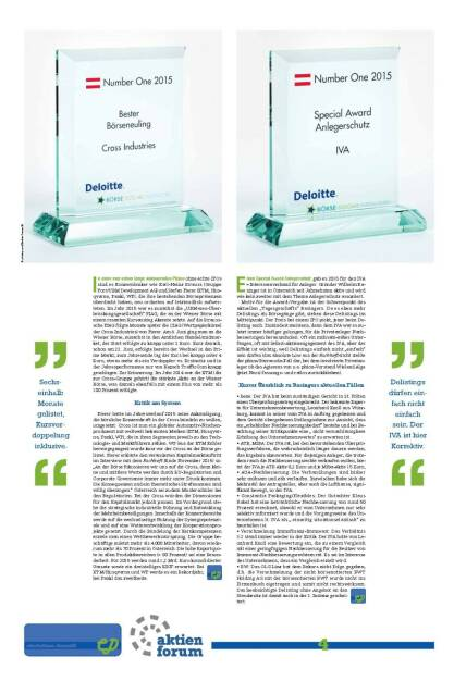 Number One: Bester Börseneuling Cross Industries, Special Award Anlegerschutz IVA (27.01.2016)