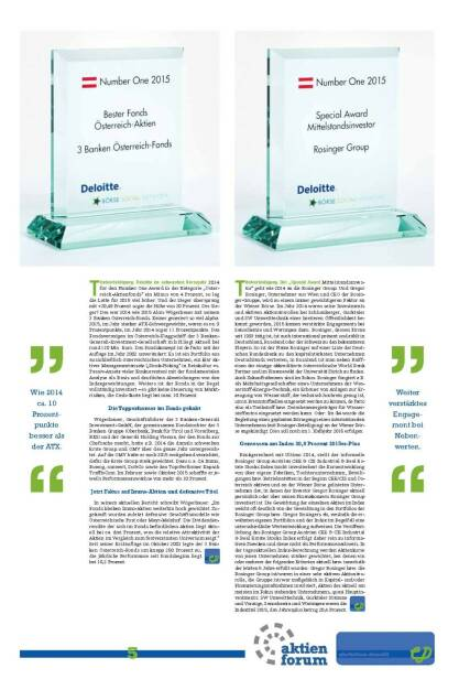 Number One: Bester Fonds Österreich-Aktien 3 Banken Österreich-Fonds, Special Award Mittelstandsinvestor Rosinger Group (27.01.2016)