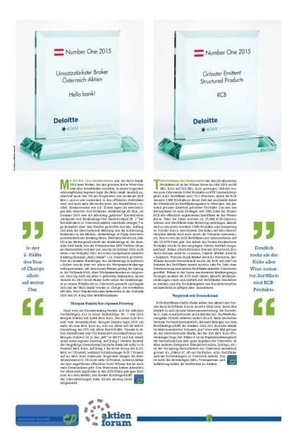Number One: Umsatzstärkster Broker Österreich-Aktien Hello bank!, Grösster Emittent Structured Products RCB (27.01.2016)
