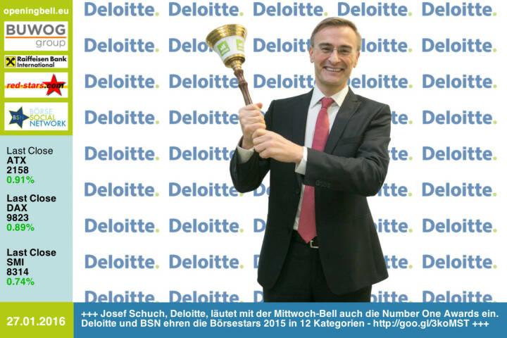 #openingbell am 27.1: Josef Schuch, Deloitte, läutet mit der Mittwoch-Bell auch die Number One Awards ein. Deloitte und BSN ehren die Börsestars 2015 in 12 Kategorien - http://goo.gl/3koMST http://www.deloitte.at http://www.openingbell.eu