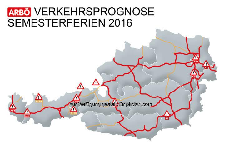 Grafik Verkehrsprognose Semsterferien : Am Samstag starten die einwöchigen Semesterferien in Niederösterreich und Wien : Auch in Teilen Deutschlands und Tschechiens beginnen die Winterferien.. : Staus erwartet : In Wien besonders betroffen werden dabei die Südosttangente (A23), die Südautobahn (A2) und die Ostautobahn (A4) sein : Fotocredit: Arbö
