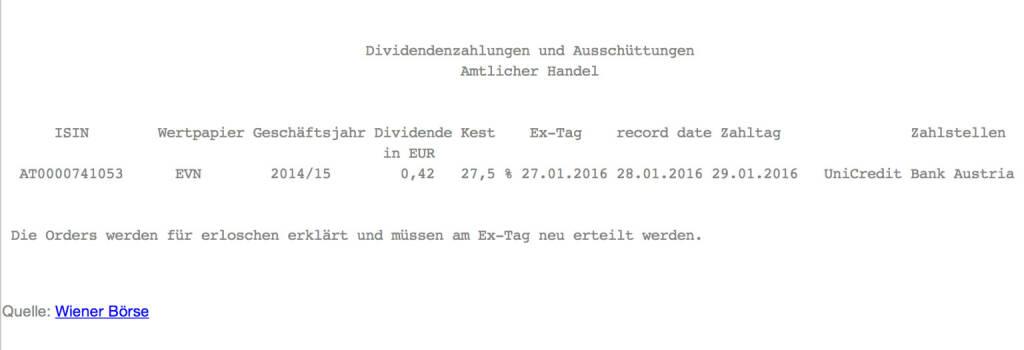 Indexevent Rosinger-Index 6: EVN-Dividende 27.1. Dividende 0,42 -> Erhöhung Stückzahl um 4,05 Prozent (27.01.2016)