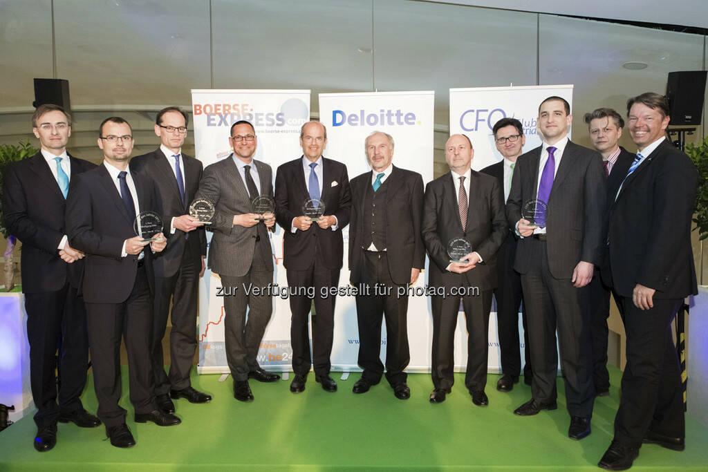Josef Schuch (Deloitte), Peter Felsbach (voestalpine), Walter Oblin (Österreichische Post), Thomas Leissing (Egger), Wolfgang Leitner (Andritz), Ewald Nowotny (OeNB), Willy Van Riet (Wienerberger), Bernhard Gröhs (Deloitte), Matthias Stieber (Telekom Austria), Robert Gillinger (Börse Express), Gerhard Marterbauer (Deloitte) , © Franz Reiterer für den Börse Express (mit freundlicher Genehmigung vom Börse Express) (05.04.2013)