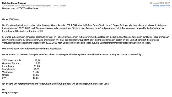 Indexevents Rosinger-Index 7 & 8: Aufnahme Immofinanz, Herausnahme Gurktaler Vzg. per Schlusskurs 29.1. 2016, effektiv per Marktstart 1.2.2016