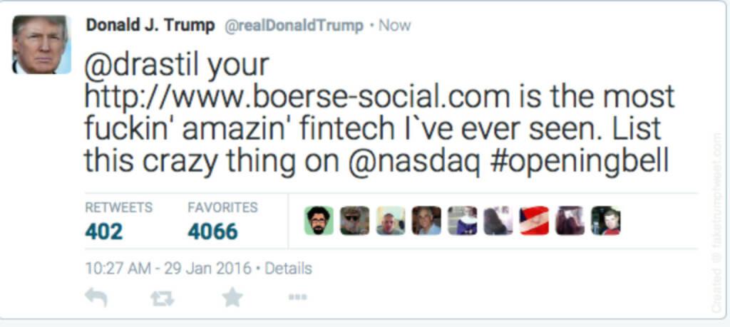 Donald Trump lobt das Börse Social Network (29.01.2016)