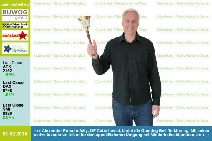 #openingbell am 1.2: Alexander Proschofsky, GF Cube Invest, läutet die Opening Bell für Montag. Mit seiner active-investor.at  tritt er für einen appetitlicheren Umgang mit Minderheitsaktionären ein http://www.active-investor.at http://www.openingbell.eu