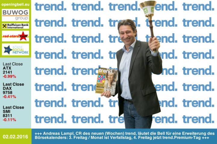 #openingbell am 2.2: Andreas Lampl, Chefredakteur des neuen wöchentlichen trend, läutet die Opening Bell für eine Erweiterung des Börsekalenders: Am 3. Freitag im Monat ist Verfallstag, am 4. Freitag jetzt trend.Premium-Tag http://www.trend.at http://www.openingbell.eu
