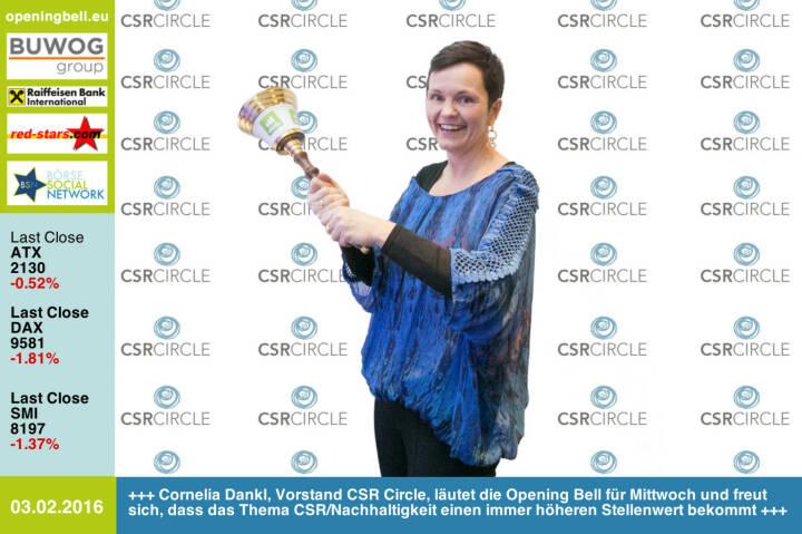 #openingbell am 3.2: Cornelia Dankl, Vorstand CSR Circle, läutet die Opening Bellfür Mittwoch und freut sich, dass das Thema CSR/Nachhaltigkeit einen immerhöheren Stellenwert bekommt http://www.csr-circle.at http://www.openingbell.eu