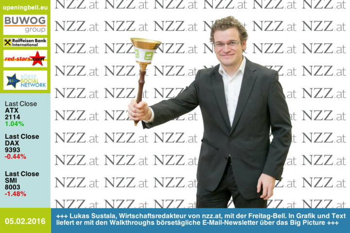 #openingbell am 5.2: Lukas Sustala, Wirtschaftsredakteur von http://www.NZZ.at, mit der Opening Bell für Freitag. Mit seinen Walkthroughs liefert er in Grafik un Text börsetägliche E-Mail-Newsletter über das Big Picture http://www.openingbell.eu