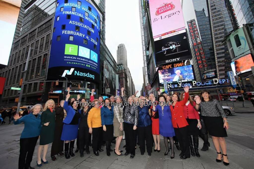 The Financial Women's Association rings the @Nasdaq Closing Bell!  Source: http://facebook.com/NASDAQ (05.02.2016)
