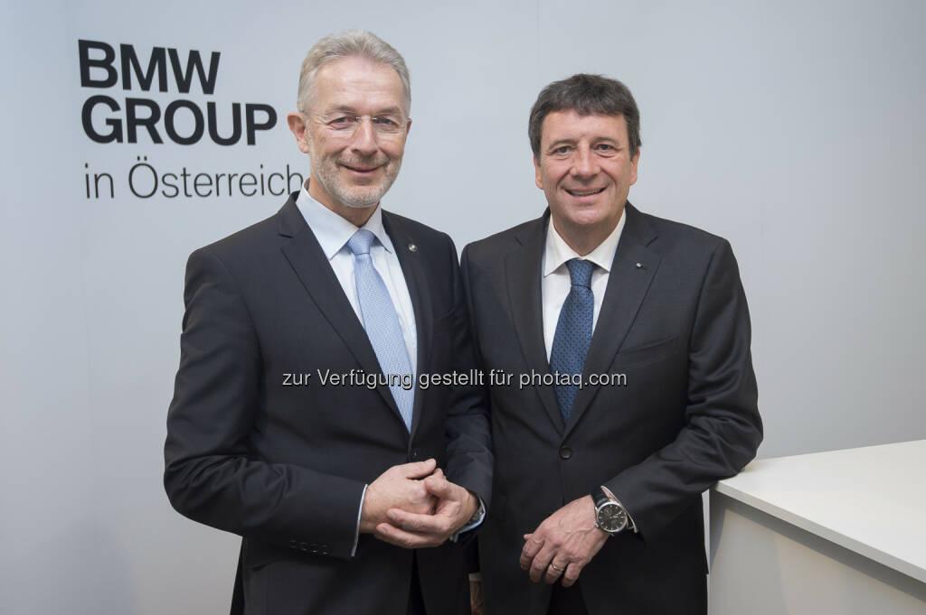 Gerhard Wölfel (GF BMW Motoren GmbH), Kurt Egloff (GF BMW Austria GmbH) : BMW Group in Österreich beendet das Jahr 2015 mit zahlreichen Rekordergebnissen und trägt damit erneut zum wirtschaftlichen Erfolg in Österreich bei : © BMW Group, © Aussender (09.02.2016)