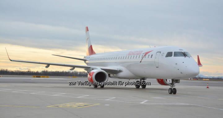 Embraer 195 mit der Registrierung OE-LWA : Der zweite Embraer der Austrian Airlines heute zum Erstflug nach Warschau gestartet  : 15 weitere Embraer Jets werden noch bis Ende 2017 eingeflottet : Copyright: Austrian Airlines - Hannes Winter