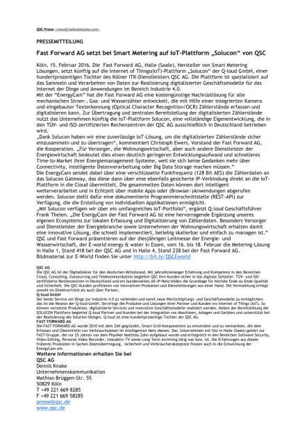 "Fast Forward AG setzt bei Smart Metering auf IoT-Plattform ""Solucon"" von QSC, Seite 1/1, komplettes Dokument unter http://boerse-social.com/static/uploads/file_633_fast_forward_ag_setzt_bei_smart_metering_auf_iot-plattform_solucon_von_qsc.pdf (15.02.2016)"