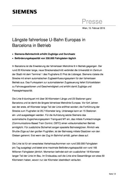 Längste fahrerlose U-Bahn Europas in Barcelona in Betrieb, Seite 1/2, komplettes Dokument unter http://boerse-social.com/static/uploads/file_637__langste_fahrerlose_u-bahn_europas_in_barcelona_in_betrieb.pdf (15.02.2016)