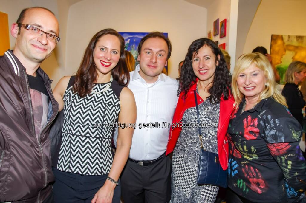 Harald Ergott, Lisa Grüner, Galerist Konstantin F. Chatziathanassiou, Isolde Engeljehringer, Michelle Ditrich, © Wolfgang Agnelli, Robert Rieger (16.02.2016)