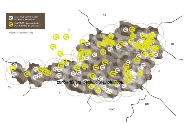 Grafik Smatrics Ladestationen Österreich und Nachbarländer : Österreichweites E-Ladenetz mit einer Karte ist bereits Realität : Smatrics bietet erstes und einziges High-Speed-Ladenetz – Zugang mit Kundenkarte oder Handy : Fotocredit: Smatrics