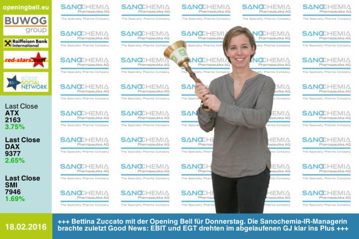 #openingbell am 18.2: Bettina Zuccato mit der Opening Bell für Donnerstag. Die Sanochemia-IR-Managerin brachte zuletzt Good News: EBIT und EGT drehten im abgelaufenen GJ klar ins Plus http://www.sanochemia.at http://www.openingbell.eu