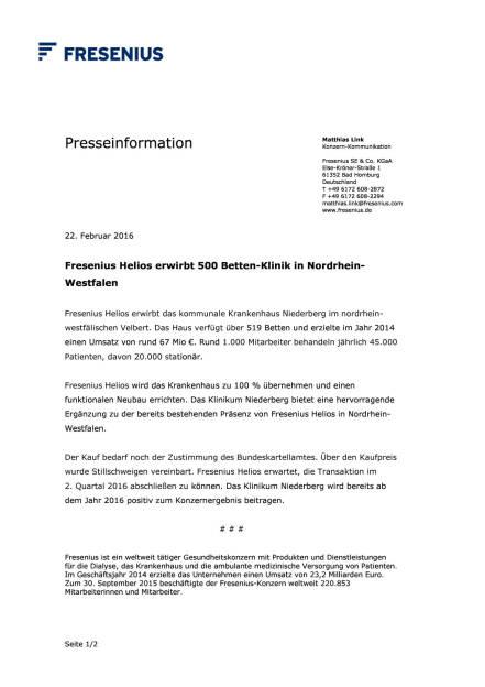 Fresenius erwirbt Klinik in NRW, Seite 1/2, komplettes Dokument unter http://boerse-social.com/static/uploads/file_667_fresenius_erwirbt_klinik_in_nrw.pdf (22.02.2016)