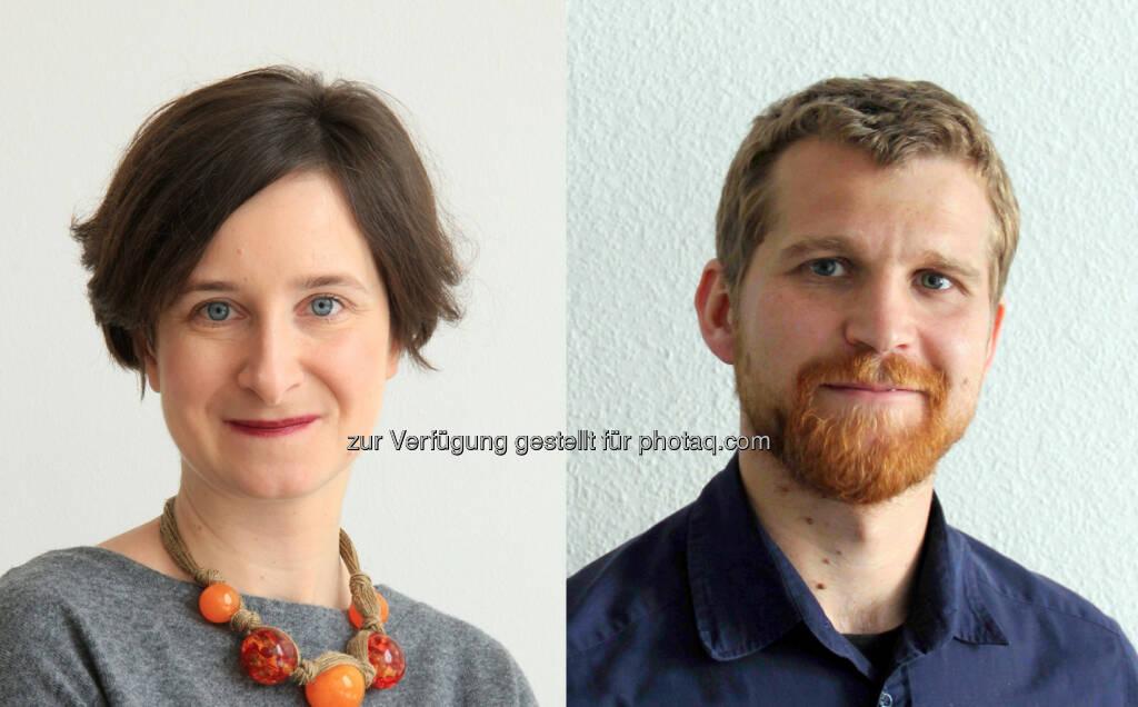 Martyna Grydlik und Moritz Brehm (Abteilung Halbleiterphysik) : JKU : Weltweit erster Silizium-Quantenpunktlaser gebaut : Fotocredit: JKU, © Aussender (22.02.2016)