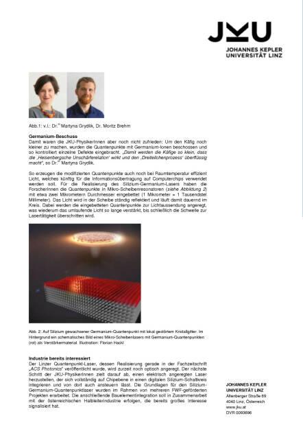 JKU-ForscherInnen ging Licht auf: Weltweit erster Silizium-Quantenpunktlaser gebaut, Seite 2/3, komplettes Dokument unter http://boerse-social.com/static/uploads/file_670_jku-forscherinnen_ging_licht_auf_weltweit_erster_silizium-quantenpunktlaser_gebaut.pdf (22.02.2016)
