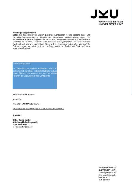 JKU-ForscherInnen ging Licht auf: Weltweit erster Silizium-Quantenpunktlaser gebaut, Seite 3/3, komplettes Dokument unter http://boerse-social.com/static/uploads/file_670_jku-forscherinnen_ging_licht_auf_weltweit_erster_silizium-quantenpunktlaser_gebaut.pdf (22.02.2016)