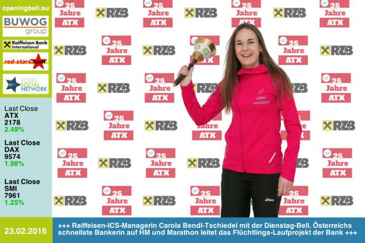 #openingbell am 23.2:  Raiffeisen-ICS-Managerin Carola Bendl-Tschiedel mit der Opening Bell für Dienstag. Österreichs schnellste Bankerin auf Halbmarathon und Marathon leitet das Flüchtlings-Laufprojekt der Bank. Am 6.5. wird sie für http://www.boerse-social.com/25jahreatx eine Laufgruppe coachen http://www.raiffeisen.at http://www.openingbell.eu