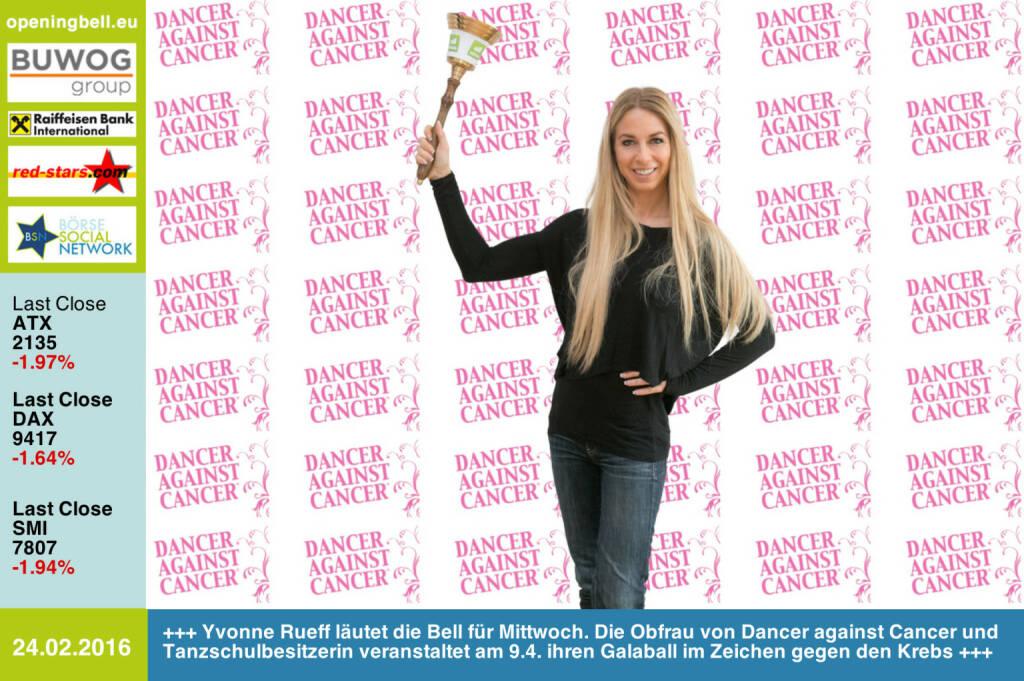 #openingbell am 24.2: Yvonne Rueff läutet die Opening Bell für Mittwoch. Die Obfrau von Dancer against Cancer und Tanzschulbesitzerin veranstaltet am 9.4. ihren Galaball im Zeichen gegen den Krebs http://danceragainstcancer.com http://www.tanzschulerueff.at/ http://www.openingbell.eu (24.02.2016)
