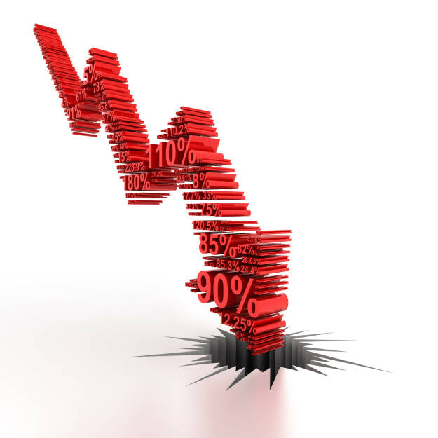 Fallend, fallen, abwärts, rot, negativ http://www.shutterstock.com/de/pic-271062005/stock-photo-downward-arrow-formed-by-numbers-d-render.html, © www.shutterstock.com (24.02.2016)