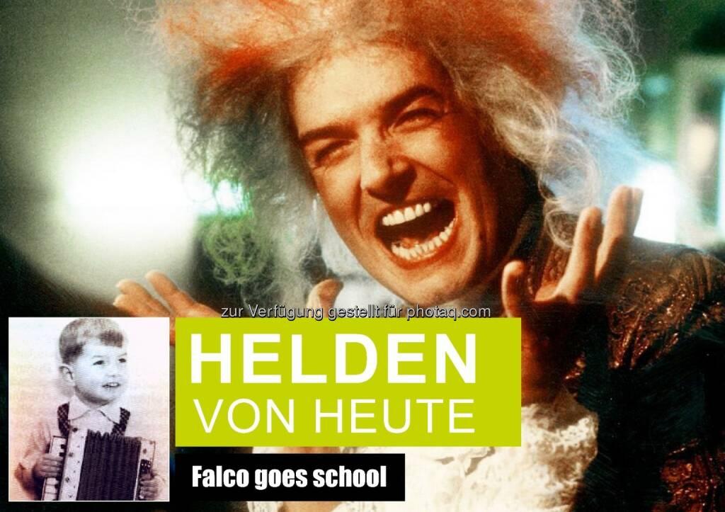 Helden von heute - Falco goes school : Falco Privatstiftung startet ab 1.März Talent-Wettbewerb für Schüler : Fotocredit: Rudi Dolezal (Falco-Amadeus); Falco Privatstiftung (Falco-Kind), © Aussender (25.02.2016)