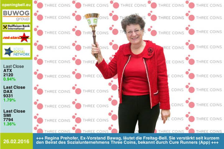 #openingbell am 26.2: Regina Prehofer, Ex-Vorstand der Bawag, läutet die Opening Bell für Freitag. Sie verstärkt seit kurzem den Beirat des Sozialunternehmens Three Coins, bekannt durch die App Cure Runners http://www.threecoins.org http://www.boerse-social.com