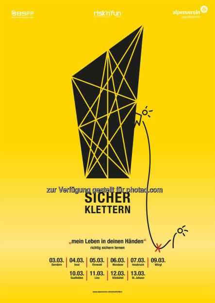 Sicher Klettern-Tour des Alpenvereins : Sicherheitsoffensive in Österreichs Kletterhallen : Alpenverein bietet kostenlose Workshops an : Fotocredit: Alpenverein, © Aussendung (26.02.2016)