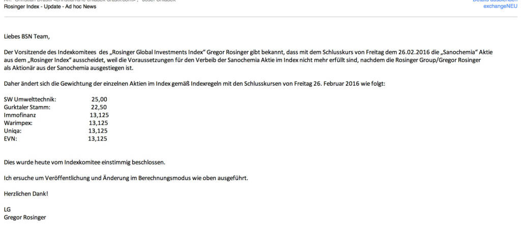 Indexevent Rosinger-Index 9: Herausnahme Sanochemia per Schlusskurs 26.2.2016, effektiv per Marktstart 29.2.2016 (26.02.2016)