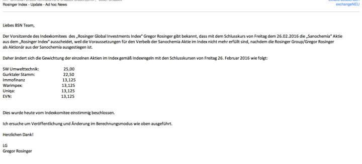 Indexevent Rosinger-Index 9: Herausnahme Sanochemia per Schlusskurs 26.2.2016, effektiv per Marktstart 29.2.2016