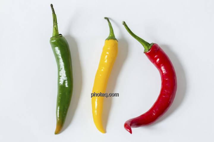 Chillies, 3 Stück, grün, gelb, rot