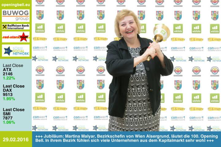 #openingbell am 29.2: Jubiläum: Martina Malyar, SPÖ-Bezirksvorsteherin von Wien Alsergrund, läutet die 100. Opening Bell. In ihrem Bezirk fühlen sich viele Unternehmen aus dem Kapitalmarkt sehr wohl http://www.conwert.com http://www.wikifolio.com http://www.boerse-social.com http://www.runplugged.com http://www.openingbell.eu