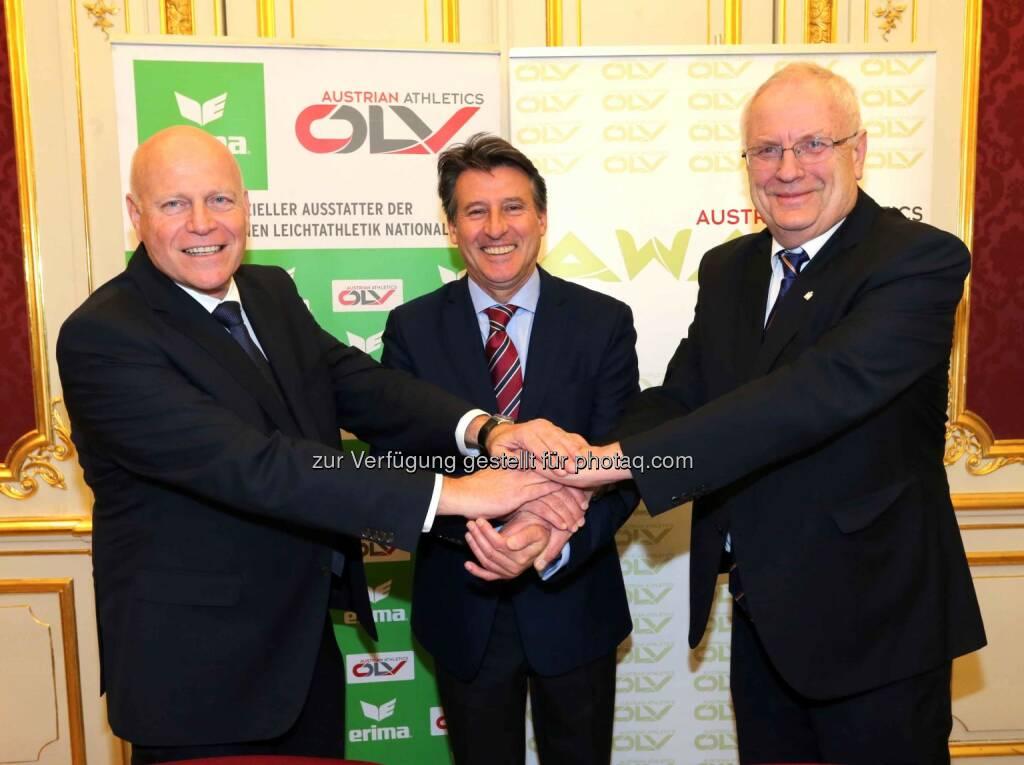 ÖLV-Präsident Ralph Vallon, IAAF-Präsident Sebastian Coe, EA-Präsident Svein-Arne Hansen (Bild: ÖLV) (01.03.2016)