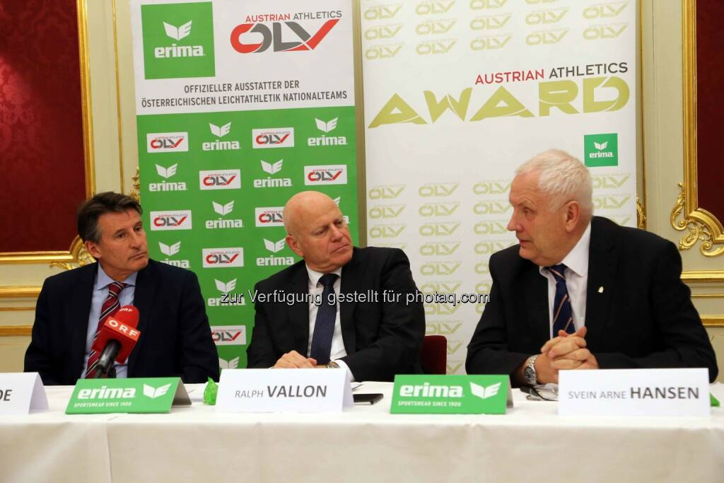 IAAF-Präsident Sebastian Coe, ÖLV-Präsident Ralph Vallon, EA-Präsident Svein-Arne Hansen (Bild: ÖLV) (01.03.2016)
