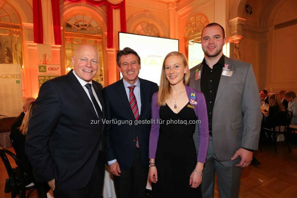 Ralph Vallon (ÖLV-Präsident), Sebastian Coe (IAAF-Präsident), Jennifer Wenth, Lukas Weisshaidinger (Bild: ÖLV) (01.03.2016)