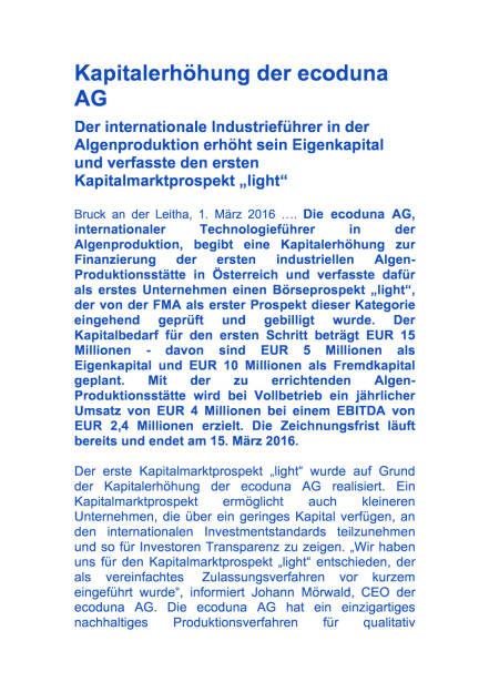 Kapitalerhöhung der ecoduna AG, Seite 1/4, komplettes Dokument unter http://boerse-social.com/static/uploads/file_699_kapitalerhohung_der_ecoduna_ag.pdf (01.03.2016)