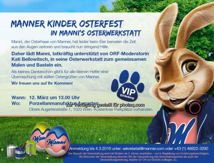 Einladung zum Manner Osterfest : Manner lädt zum Kinder & VIP Osterfest : Kinder und Promis malen und basteln in Mannis Osterwerkstatt, dem Osterhasen von Manner : Fotocredit: Manner