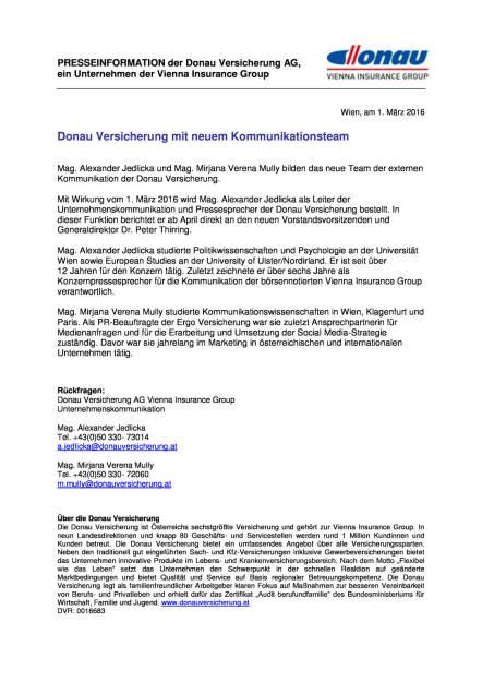 Donau Versicherung mit neuem Kommunikationsteam, Seite 1/1, komplettes Dokument unter http://boerse-social.com/static/uploads/file_702_donau_versicherung_mit_neuem_kommunikationsteam.pdf (01.03.2016)