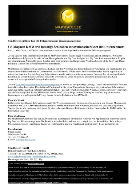 Mindbreeze zählt zu Top 100 Unternehmen im Wissensmanagement , Seite 1/1, komplettes Dokument unter http://boerse-social.com/static/uploads/file_708_mindbreeze_zahlt_zu_top_100_unternehmen_im_wissensmanagement.pdf (01.03.2016)