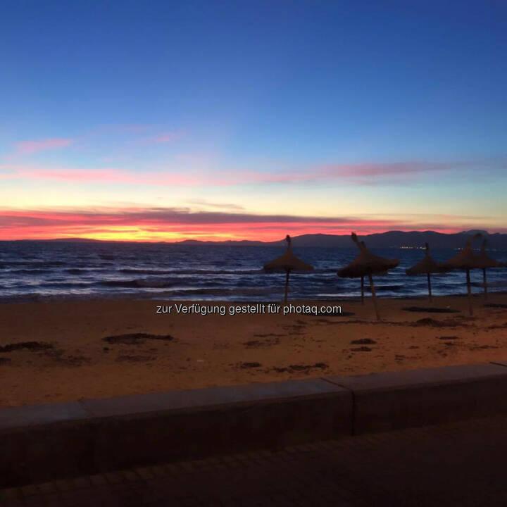 Sonnenaufgang, Strand, Meer, Schirm, Ruhe