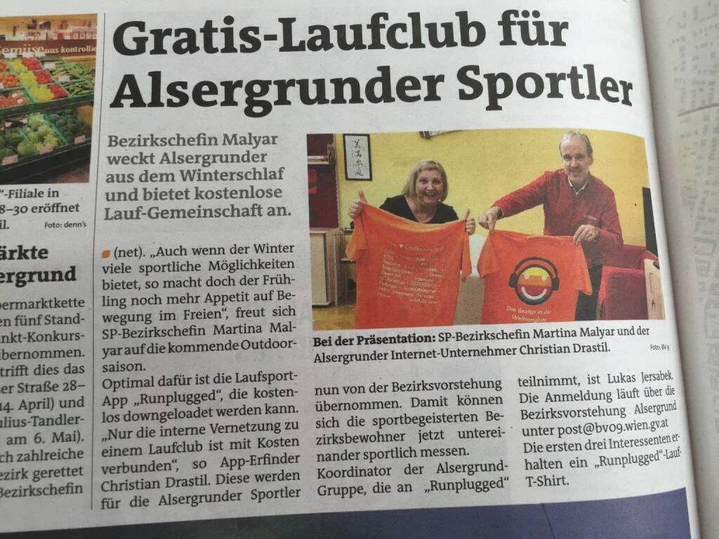Runplugged Laufkundschaft in der Bezirkszeitung Alsergrund vom 2. März (02.03.2016)