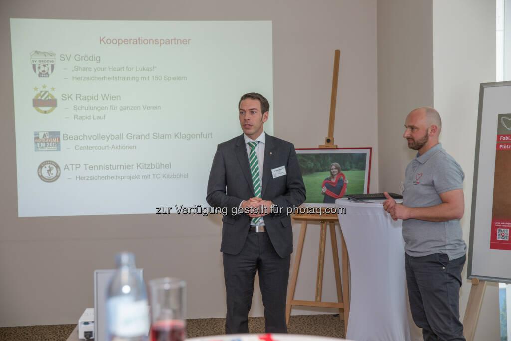 Christoph Peschek (SK Rapid Wien Geschäftsführer), Gregor Fink (Gründer Heartbeat Foundation) : Sportprominenz beim Botschaftertreffen der Heartbeat Foundation : Fotocredit: Heartbeat Foundation/Gassner, © Aussender (02.03.2016)