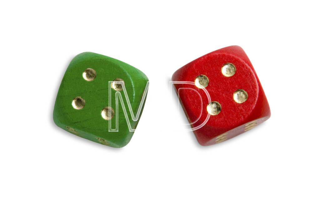 2 Würfel, grün, rot, © Martina Draper (06.04.2013)